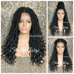 Long Lace Front Wig Faux Locs 4x4 Parting Space Off Black #1b Curly Glueless $131.91