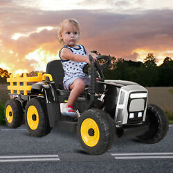 12V Electric Kids Ride On Tractor Battery Powered Toy with Trailer LED Lights $167.49
