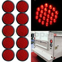 10pcs Tail Light Reverse Backup Lamp Red 4 Inch Round 24 LED For Truck Trailer $41.99