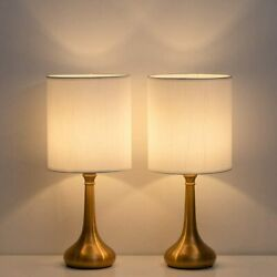 Set of 2 Vintage Bedside Lamp White Lampshade Nightstand Light Table Lamp Metal $31.60
