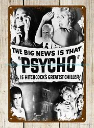 tin retro rustic signs Psycho 1960 psychological horror movie poster tin sign $16.88