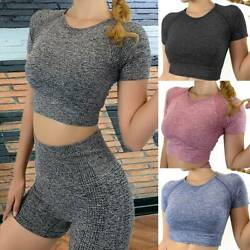 US Women Sports Gym Yoga Crop Tops Short Sleeve Workout Fitness Casual T Shirts $13.15