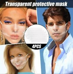 Face Mask Clear Transparent Cover Washable Reusable Adult Kids Unisex USA Seller $23.99