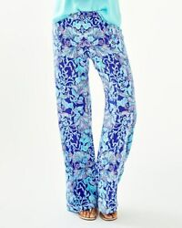 Lilly Pulitzer NEW Womens Large Bal Harbour Palazzo Pants Purple Blue Beach $59.99
