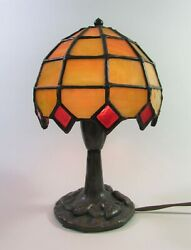 Unusual Vintage Stained Glass Lamp by The Christiansens Lamp Co.Signed 8