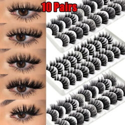 10Pairs 3D Mink False Eyelashes Wispy Cross Fluffy Natural Extension Lashes USA $1.57