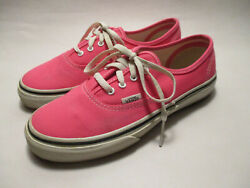 VANS Off the Wall Girls Youth 3.5M Bright Pink Canvas Lace Up Sneakers $15.98