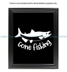 accent wall bedroom gone fishing fishing quote sportsman gift 8x10quot; print $4.95