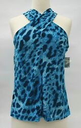 INC International Concepts Blue Divine Leopard Crisscross Halter Top NWT Size S