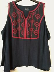 Simply Emma Women#x27;s Sleeveless Embroidered Top Tribal Boho Navy Red Plus Size 3X $10.99