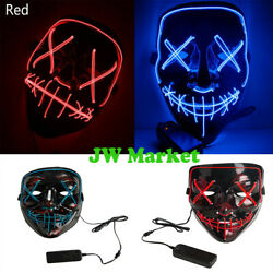 Halloween LED Glow Purge Mask 3 Modes EL Wire Light Up The Movie Costume Party $9.79
