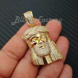 HIP HOP ICED 14K GOLD PLATED BLING BRASS MICRO PAVE JESUS HEAD PENDANT BCS1021G $18.99