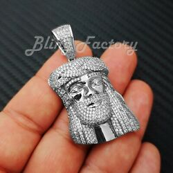 HIP HOP ICED SILVER PLATED BLING BRASS MICRO PAVE JESUS HEAD PENDANT BCS1021S $18.99