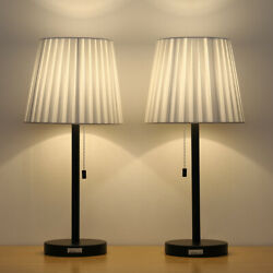Set of 2 Bedside Table Lamps with White Lampshade for Bedroom Living Room $40.90