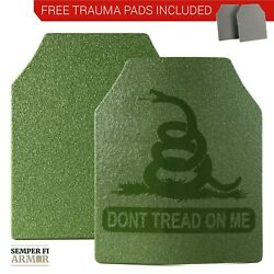 Body Armor AR500 Plates Two 10X12 OD Green Dont Tread On Me Free Trauma Pads $89.95