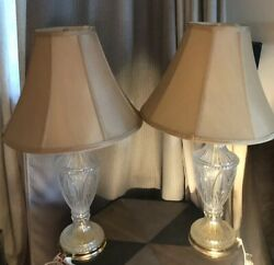 Vintage LOT OF 2 Crystal Char 24 % Lead Crystal Lamps $120.95