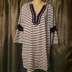 L PARADISE BAY HOODED COVER UP STRIPED MULTI COLOR COTTON CROCHET 3 4 SLEEVE $14.95