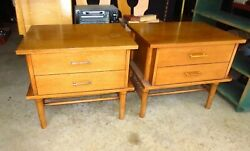 PAIR Of Vintage Mid Century Modern Drexel 2 Drawer Side End Tables Night Stands $74.99