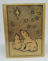 Polar Bears starry night sky Rubber Monger wood rubber stamp Christmas holiday $16.99