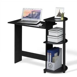 Compact Computer Desk With Shelves AmericanoBlack Home Office Study Laptop Tabl $85.00