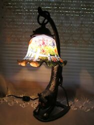 Vtg. Crouching Kitty Cat Lamp Gold Eyes Chasing Butterflies in the Garden Shade $110.00