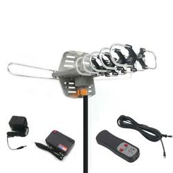 2x 1080P 150Miles Outdoor Amplified Antenna HDTV Rotation UHF VHF FM 36dB Pole $61.99