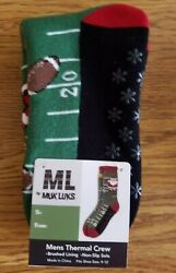 MUK LUKS Men Novelty Thermal Crew Sock Santa Football fits size 9 12 Non Slip $7.99
