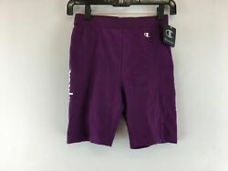 ​Women#x27;s Champion High Waist Logo Biker Short Size S Dark Purple Multi $23.31