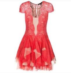 BCBGMaxazria Rochelle Red Lace Scallop Dress 0 Nude Mesh Short Cocktail size 0 $50.00