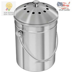 Epica Stainless Steel Compost Bin 1.3 Gallon Includes Charcoal Filter $32.18