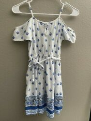 Childrens Place Girls White Blue Floral Embroidered Lined Sleeveless Dress 7 8 $7.99