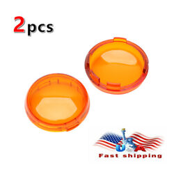 Yellow Pair Turn Signal Light Amber Len Cover For Harley Touring Road King Glide $6.26