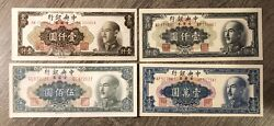 (Lot Of 4) 1949 Chinese 500/(2)1000/10000 Gold Yuan (Crisp, Great Condition) $12.03