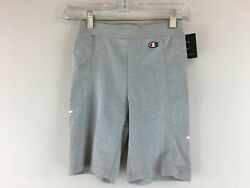 Women#x27;s Champion High Waist Logo Biker Short Size XS Grey White $10.82