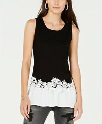 INC International Concepts Lace-Trim Peplum Tank Top Black L