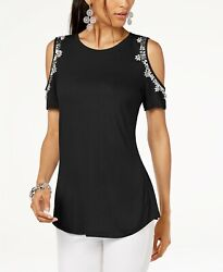 INC International Concepts Embellished Cold-Shoulder Top Black XXL