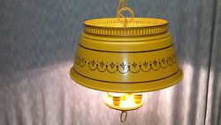 VINTAGE TOLE CHANDELIER THREE CANDLE YELLOW MUSTARD 15quot;L X14quot;W PROGRESS LIGHTING $449.00