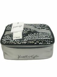 B Kendall Kylie Black And Silver Sequins Vanity Case Makeup Bag New