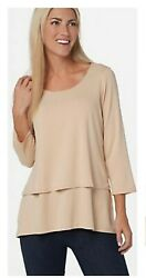 Joan Rivers Jersey Knit Layered Top with 3 4 Sleeves A302582 $11.99