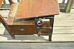 Antique Student Wooden School Desk with ink well and drawer $175.00
