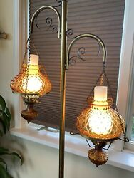 Vintage Antique Double Arm Hurricane Style Floor Electric 3 Way Lamp Amber Glass $185.00