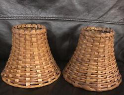 Lamp Shades Small Wicker Woven Rattan Medium Brown Natural Set of TWO 2 $20.00