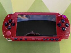 Sony PSP-1001 Playstation Portable Red & Black handheld System READ DISC $10.50