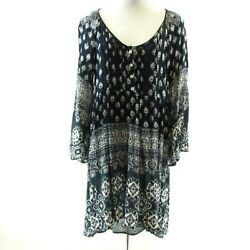 Altar#x27;d State Blue White Boho Dress Size M Pintuck Bell Sleeves Gauzy High Low $32.89
