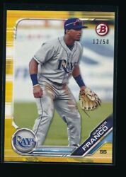 WANDER FRANCO 2019 Bowman Draft Paper GOLD # 50 Tampa Bay Rays Rookie Card RC $299.99