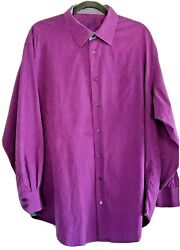 Robert Graham Shirt 3435 BIG Solid Purple Embroidered Long Sleeve French Cuff  $52.50