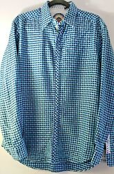 Robert Graham Shirt MM Blue Checkered Embroidered Long Sleeve French Cuff - EUC $52.50