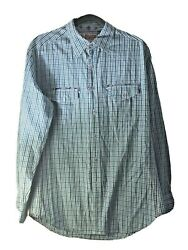 ROBERT GRAHAM Long Sleeve Shirt LARGE Light Blue Checkered Embroidered Accents $49.00