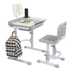 Children Desk and Chair Set Height Adjustable Kids Study Drawing Play Table Grey $89.98