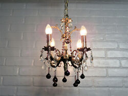 Vintage Antique Petite Baby Spanish Brass Chandelier Purple Amethyst Teardrops $495.00